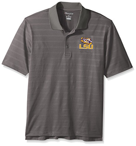 Lsu Shirt Tigers Striped (Champion NCAA LSU Tigers Men's Textured Solid Polo, Small, Titanium)