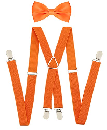 Orange Suspender Bow Tie X-Shaped Back SuspendersBowtie Set Elastic Suspender with Bow Tie For Men Women