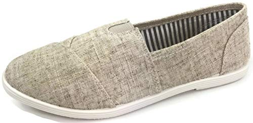 Womens Canvas Slip-On Shoes with Padded Insole, Beige, 7 ()