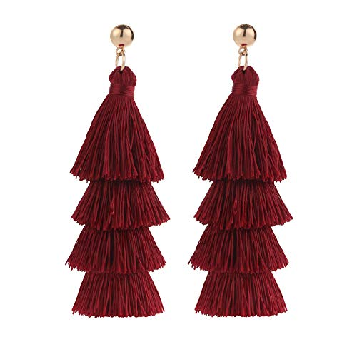 BaubleStar Fashion Gold Maroon Tassel Dangle Earrings Layered Long Bonita Tiered Wine Burgundy Red Thread Tassel Drop Statement Jewelry for Women Girls B054WR]()