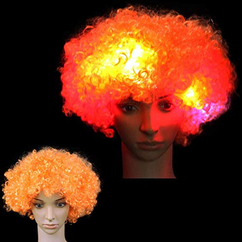 Neon Clown Orange Afro Wig - Funny LED Light Up Fluffy Clown