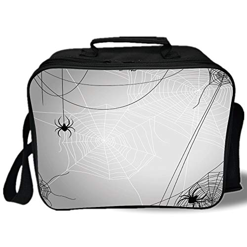(Insulated Lunch Bag,Spider Web,Spiders Hanging from Webs Halloween Inspired Design Dangerous Cartoon Icon Decorative,Grey Black White,for Work/School/Picnic,)