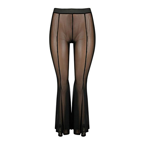 JESFFER Womens Swimwear Transparent Long Pant Trousers Beach Mesh Sheer Bikini Cover Up Black