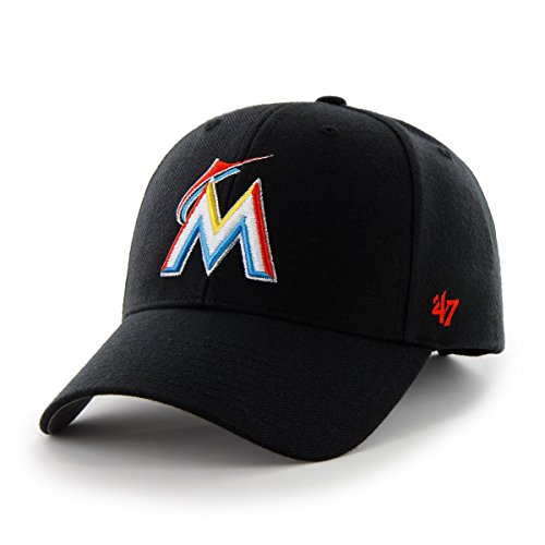 '47 MLB Miami Marlins Juke MVP Adjustable Hat, One Size, Black