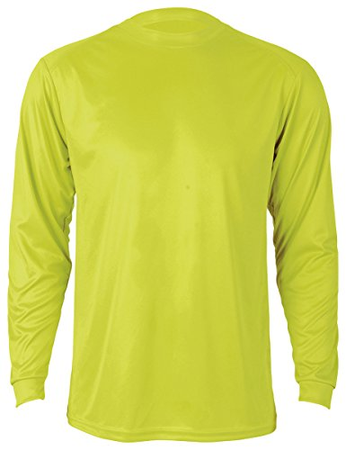 Paragon Men's Long Sleeve Performance Tee Red, Safety Green,