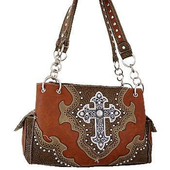 Caw847-brn Rhinestone Cross Decorated Shoulder Bag-brown Bag Handbag Shoulder Arm Shoulderbag Purse Tote Zipper Stap Belt Hrsta