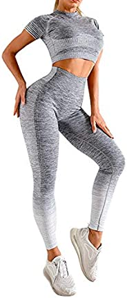 OLCHEE Women's Workout Set 2 Piece Tracksuit - Seamless High Waist Leggings and Crop Top Yoga Activewear Set