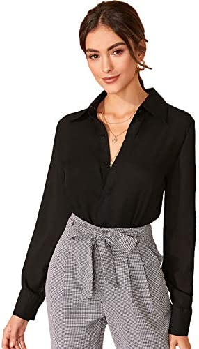 Floerns Women's Long Sleeve Button Up Shirts Chiffon Office Work Blouse Top