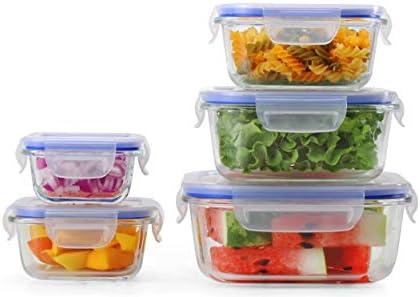 Popit! [5-Pack] comida cristal Prep Contenedores - Preparación de ...