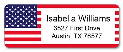 Personalized Return Address Labels - USA Flag Design - 120 Custom Gift Stickers ()
