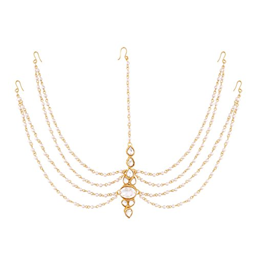 I Jewels Pearl Head Piece/Head Bands/Head Chain/Mathapatti/ Maang Tikka for Women T1082W from I Jewels