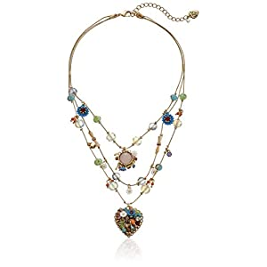 Betsey Johnson Weave and Sew Multi Woven Heart Illusion Necklace