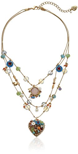 Betsey Johnson Weave and Sew Woven Mixed Multi-Colored Bead Flower Heart Illusion Necklace
