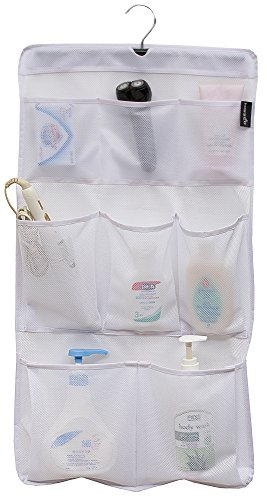 MISSLO 8 Pockets Mesh Shower Organizer Hanging Caddy with Rotating Hanger Quick Dry Bathroom Storage (White)
