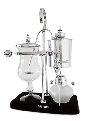 (NISPIRA Belgian Belgium Luxury Royal Family Balance Syphon Siphon Coffee Maker Silver Color)