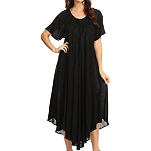 Sakkas 1701 - Lilia Embroidered Lace Up Bodice Relaxed Fit Maxi Sun Dress - Black - OS