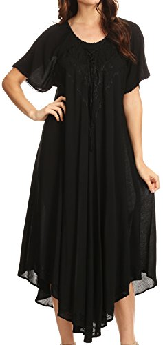Sakkas 1701 - Lilia Embroidered Lace Up Bodice Relaxed Fit Maxi Sun Dress - Black - OS (Black Maxi Dress For Tall Women)