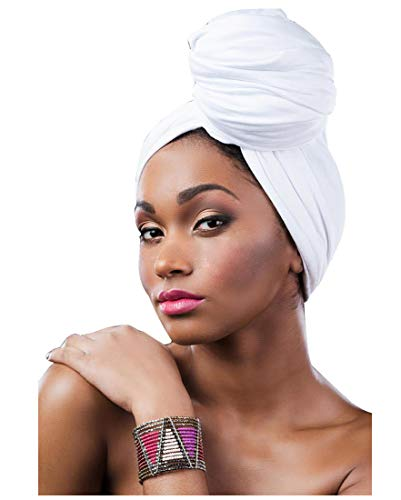 L'VOW Women' Soft Stretch Headband Long Headwrap Scarf Turban Tie (White)