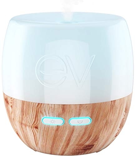 Earth Vibes Essential Oil Diffuser - 200ml Aromatherapy Cool Mist Humidifier- Ultrasonic Aroma Diffusers- Adjustable Mist - Auto Shut-Off - 7 Color LED Lights - For Home Office Bedroom Baby Yoga Spa
