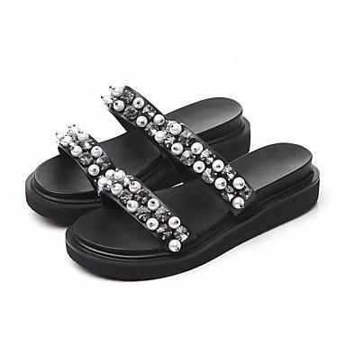 pwne Zapatillas De Mujer &Amp; Comodidad Flip-Flops Pu Primavera Verano Negro Casual 4A-4 3/4In Negro Us6 / Ue36 / Uk4 / Cn36 US8 / EU39 / UK6 / CN39