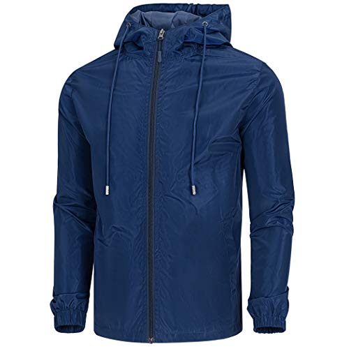 WULFUL Men's Lightweight Windbreaker Jacket Waterproof Hooded Outdoor Jackets Casual Outwear Navy Blue