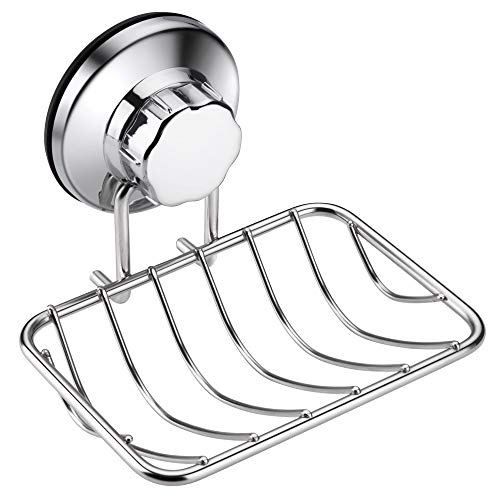 iPEGTOP Super Powerful Vacuum Suction Cup Shower Soap Dish - Strong Rustproof Stainless Steel Soap Saver Sponge Holder for Bathroom & Kitchen Sink