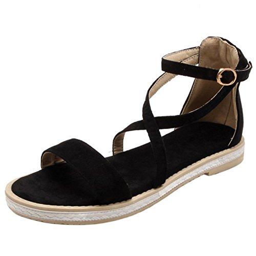 Mujer Sandalias Coolcept Cruzado Black Verano Moda Plano Tdqq1Ux
