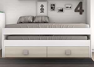 Cama nido blanca con 2 cajones color haya para dormitorio for Cama nido con cajones blanca