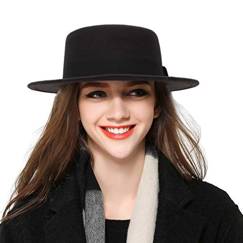 BOGIWELL Women's Classic Wool Felt Pork Pie Hat Flat Top Church Fedora Hat -
