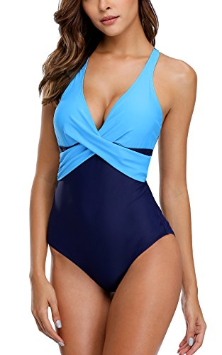 (ALove Women Criss Cross One Piece Swimsuit Colorblock 1 Piece Bathing Suit Medium Aqua-Navy )
