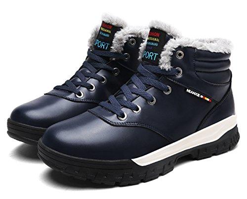 Santimon Sneakers Herren Leder Warm Gefütterte Winterstiefel Outdoor Schneestiefel Winterschuhe mit Kunstpelz Schwarz Braun Dunkelblau