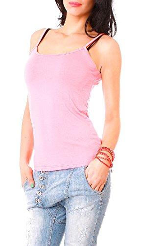 Damen Basic Spaghetti-Top Träger Top uni Hemdchen einfarbig Shirt one-size für Größe Gr 34 36 38 XS S M (Rosa)