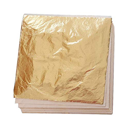 SUMAJU 100 Sheets Imitation Gold Leaf, 5.5 by 5.5 Inches Foil Paper for Slimes, Nails, Arts, Gilding Crafting Frames Decoration ()