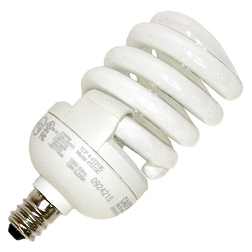 - TCP 4T213C41K CFL SpringLamp - 60 Watt Equivalent (only 13W used) Cool White (4100K) Candelabra Base Spiral Light Bulb