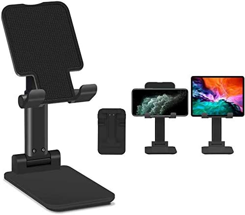 Cell Phone Stand Foldable Portable Tablet Stand Adjustable Desktop Phone Holder Compatible with All Mobile Phone Black