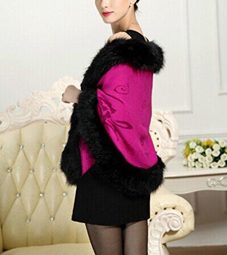 cape manteau Fur Manteau rosy tricot Cape Chale Fox Faux PLAER aux femmes Red wfHqa008