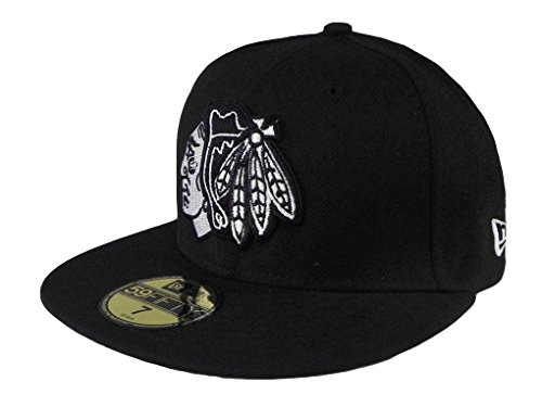 NHL Chicago Blackhawks Basic Black and White 59Fifty Cap, Black/White, 7 1/4