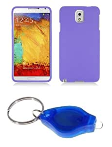 Lavender Purple Protective Hard Shell Cover Shield Case + ATOM LED Keychain Flashlight for Samsung Galaxy Note 3