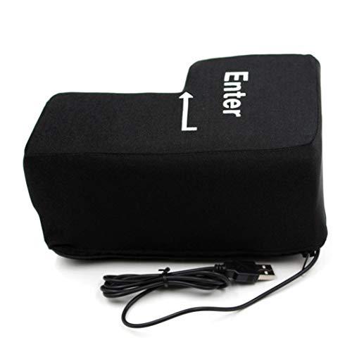 Jujunx Big Enter Key USB Pillow Anti-stress Relief Super Size Enter Key Unbreakable (Black) (Enter Key)