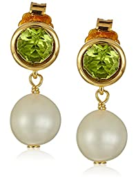 18k Yellow Gold Plated Sterling Silver Round Peridot 6mm and Pearl 8-9mm Bezel Set Stud Earrings