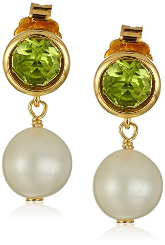18k Gold Plated Sterling Silver Genuine Peridot and Freshwater Cultured Pearl Drop Stud Birthstone Earrings