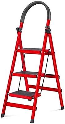BOC Taburete de escalera plegable rojo, taburete de cocina para el hogar, almacenamiento fácil, taburete de 3 niveles con patas antideslizantes: Amazon.es: Bricolaje y herramientas