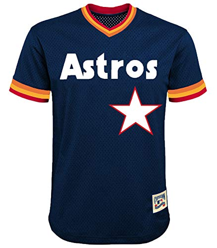MLB Youth 8-20 Cooperstown Team Color Mesh V-Neck Jersey (Medium 10/12, Houston Astros)