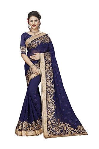 Da Facioun Indian Sarees For Women Wedding Designer Party Wear Traditional Sari. Da Facioun Saris Indiens Pour Les Femmes Portent Partie Concepteur De Mariage Sari Traditionnel. Blue 10 Bleu 10