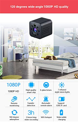OMZBM Mini Ocultos Seguridad 1080P HD Cámara IP 360 ° Girar Video Recorder 140 Gran Angular Inalámbrica WiFi Espía Cámara Cámara De Vigilancia Visión Remota ...