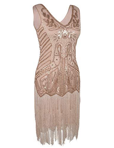 1920s Rose Women's Dress Flapper PrettyGuide Embroidery Gold Cocktail Fringed Floral Sequin Dress 8qRn6