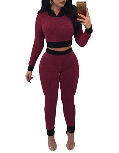 Remelon Womens Glitter Hooded Bodycon 2 Piece Outfits Jumpsuits Long Sleeve Crop Top and Long Pants Set Tracksuit Sweatsuit Wine XL