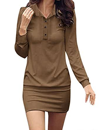 Allegra K Women Point Collar Button Upper Long Sleeves Mini Dress XS Coffee