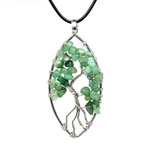 - 7 Chakra Necklace Tree Of Life Pendant Natural Crystal Stone Rainbow Hide Rope Necklace For Women Girl Party Wedding Green