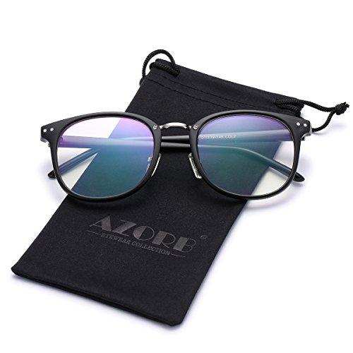 AZORB Classic Horn Rimmed Eyeglasses Clear Lens Glasses(Matte - Semi Round Eyeglasses